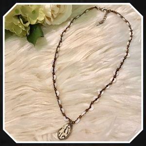 Silpada N2176 Shell Mosaic Bronze & White Necklace